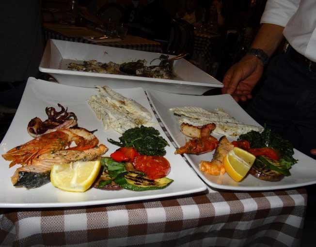 Prato de frutos do mar em roma