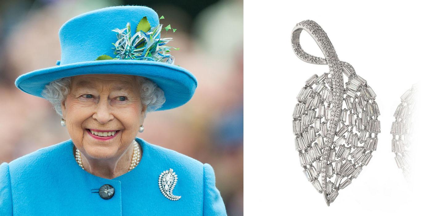 broche de folha rainha elizabeth