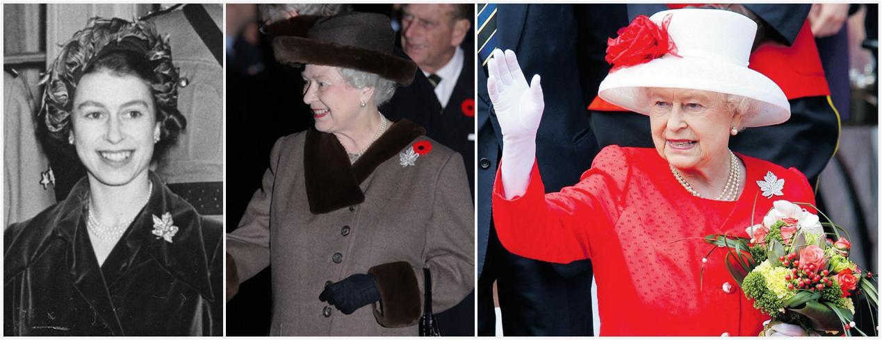 broche rainha elizabeth folha