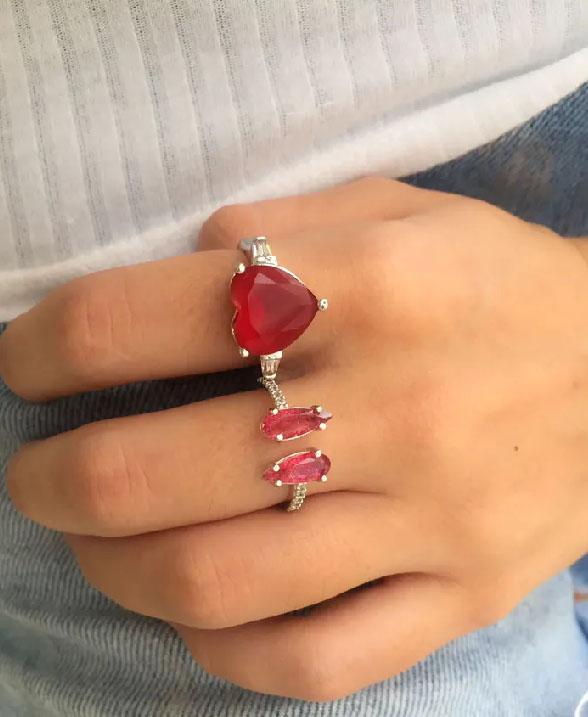 composição de aneis com rubi