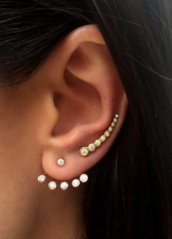 Ear jacket e earcuff de zirconias semi joias