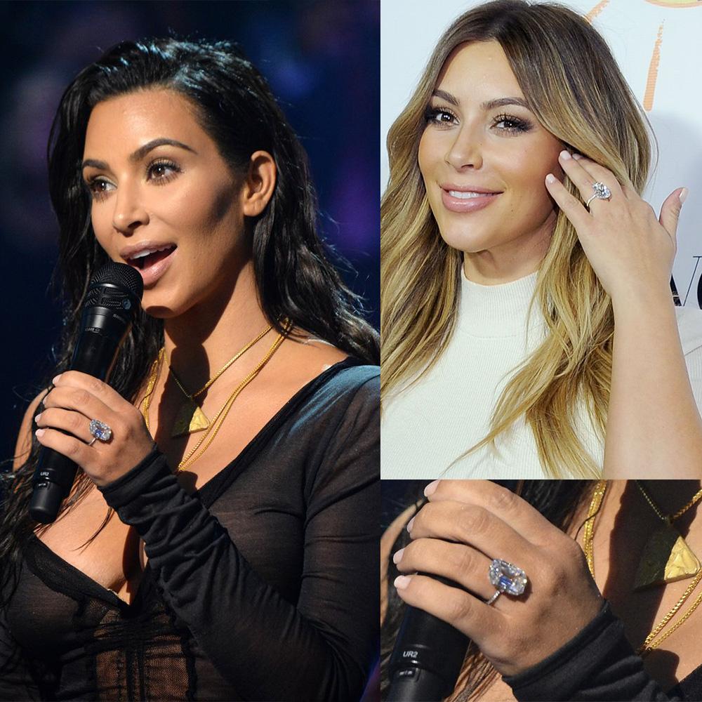 Ao contrário de Mila Kunis,, Kim Kardashian gosta de mostrar seu diamante de 15K para o mundo