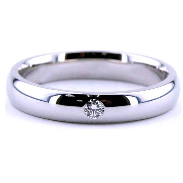 Aliança lisa com um diamante só