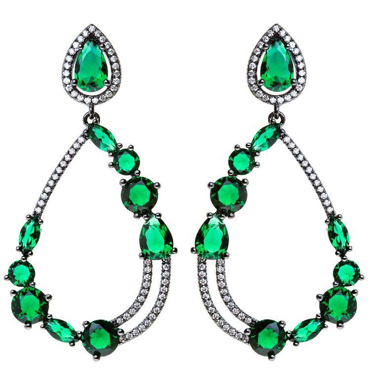 Brinco semi joia fina cravejado zirconias cristais e verdes ródio negro Hazel