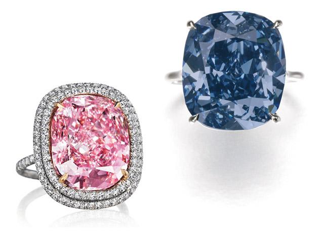 Diamante rosa e diamante azul