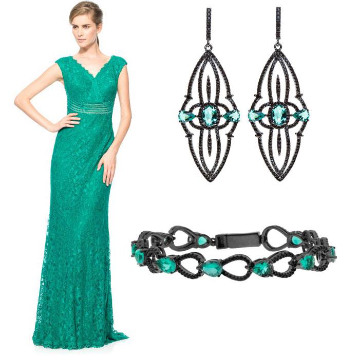 Acessorios para vestido verde tiffany