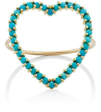 anel coracao turquesa dourado top100 semijoias