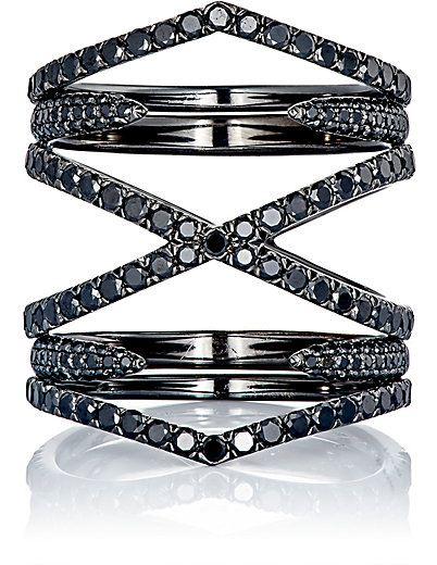 anel design moderno rodio negro top100 semijoias