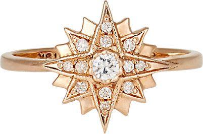 anel estrela zirconias dourado top100 semijoias