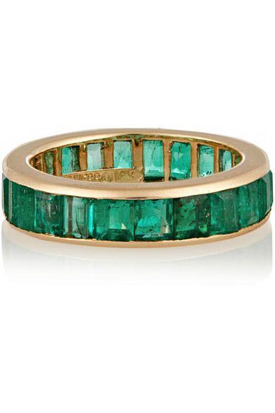 anel folheado pedras esmeralda top100 semijoias