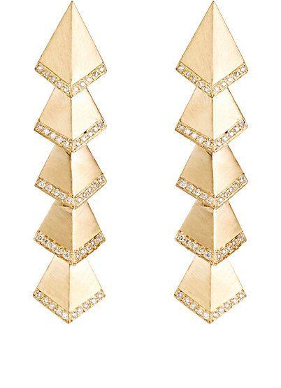 brinco longo piramides dourado top100 semijoias