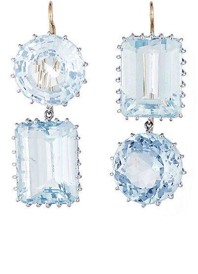 brinco pedras azuis geometricas top100 semijoias