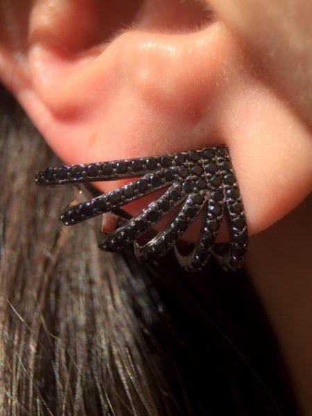 brinco rodio negro de zirconias pretas joias waufen