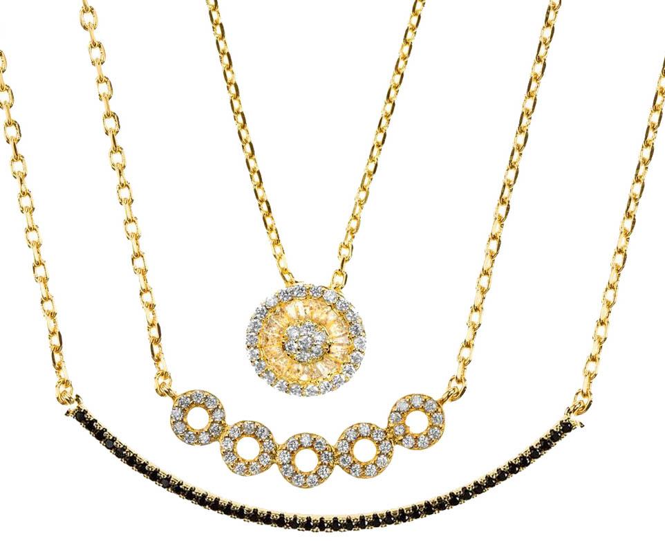 Mix de colares folheados a ouro 18k