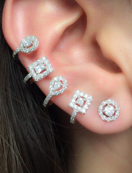 ear cuff zirconias rodio branco
