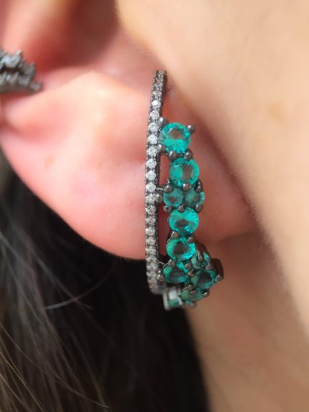 ear hook turmalina e piercing de pressao semi joias online
