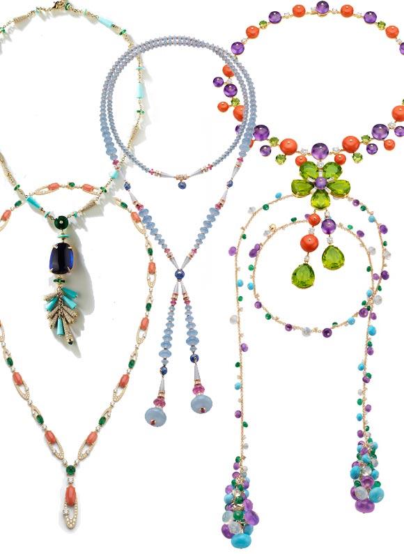 Joias coloridas colares coloridos