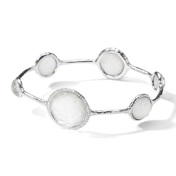 pulseira chique pedras brancas prata top100 semijoias