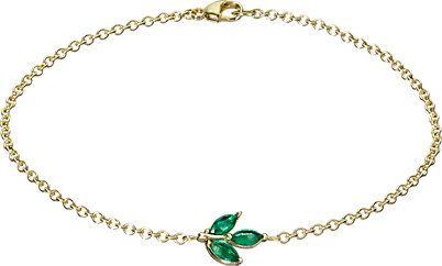 pulseira esmeralda dourada folhinha top100 semijoias