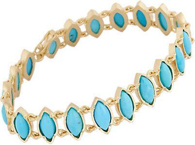 pulseira turquesa dourada top100 semijoias