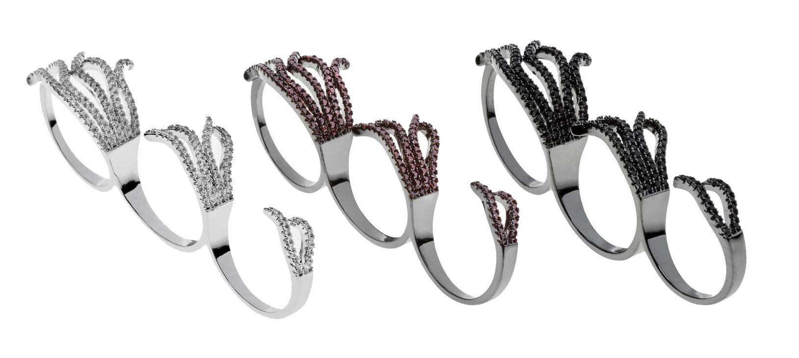 Anel triplo prata e anel triplo rodio negro