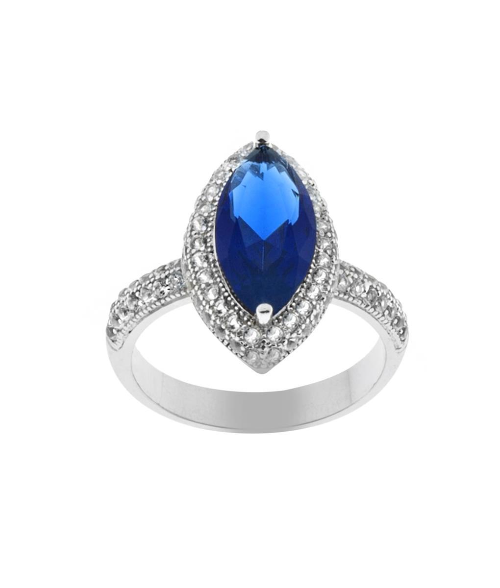 anel azul safira semijoia prata