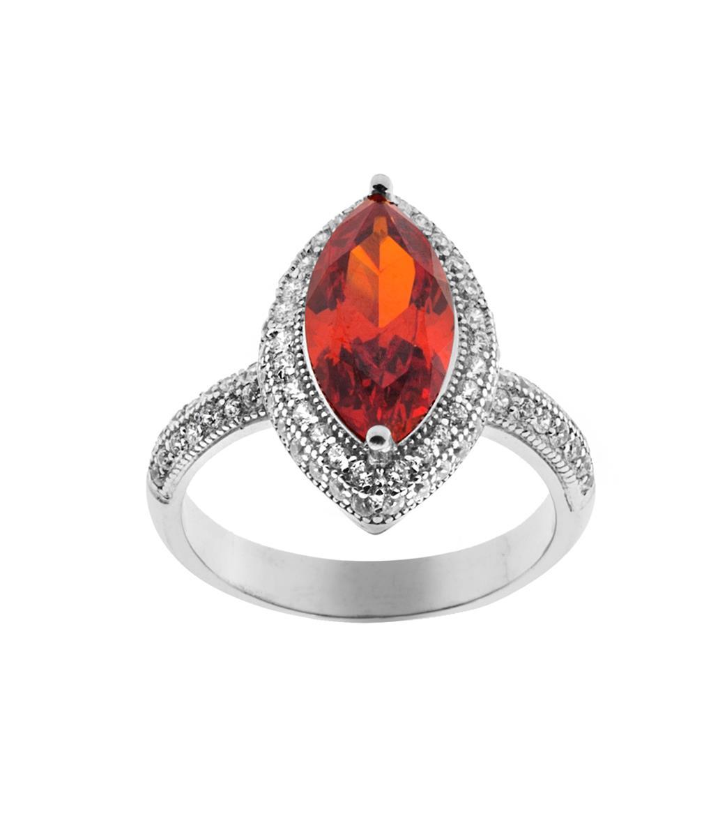 anel com pedra laranja zirconia semijoias