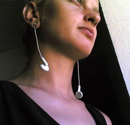 brincos criativos de fones de ouvido