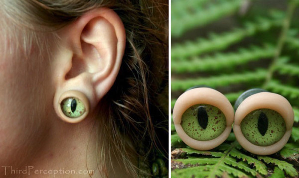 brincos criativos de olhos jacare