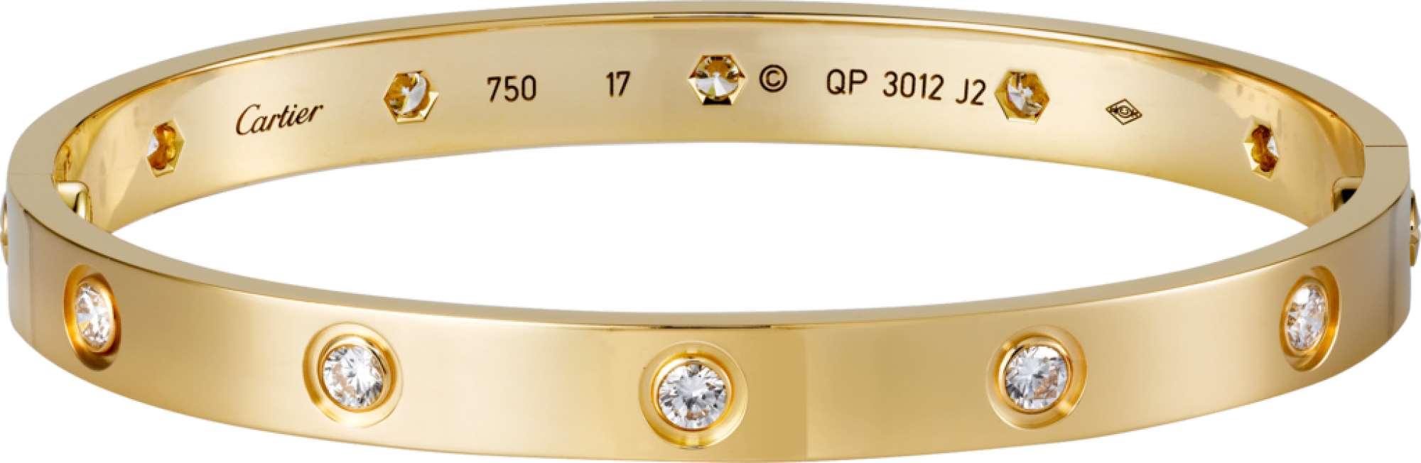 bracelete love cartier dourado