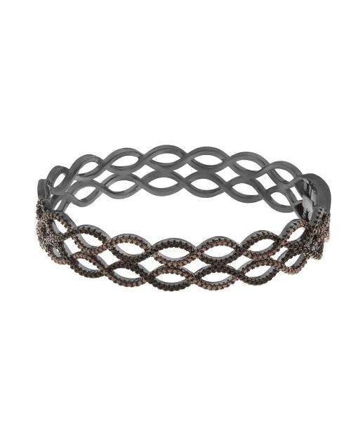 semi joias bracelete zirconias marrom