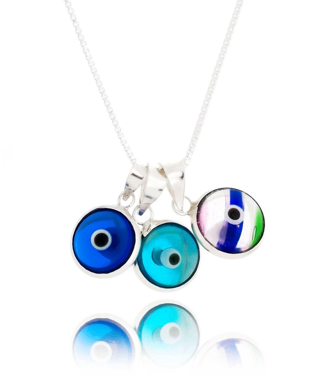 colar pingentes olhos gregos coloridos prata 925