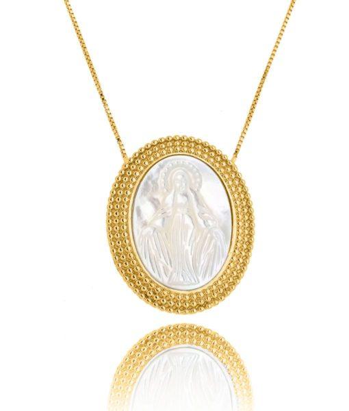 colar santa dourada madreperola semi joia religiosa