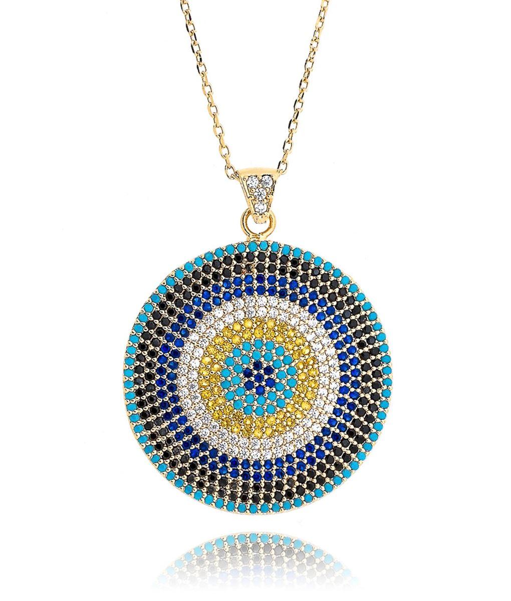 colar olho grego dourado colorido prata turca
