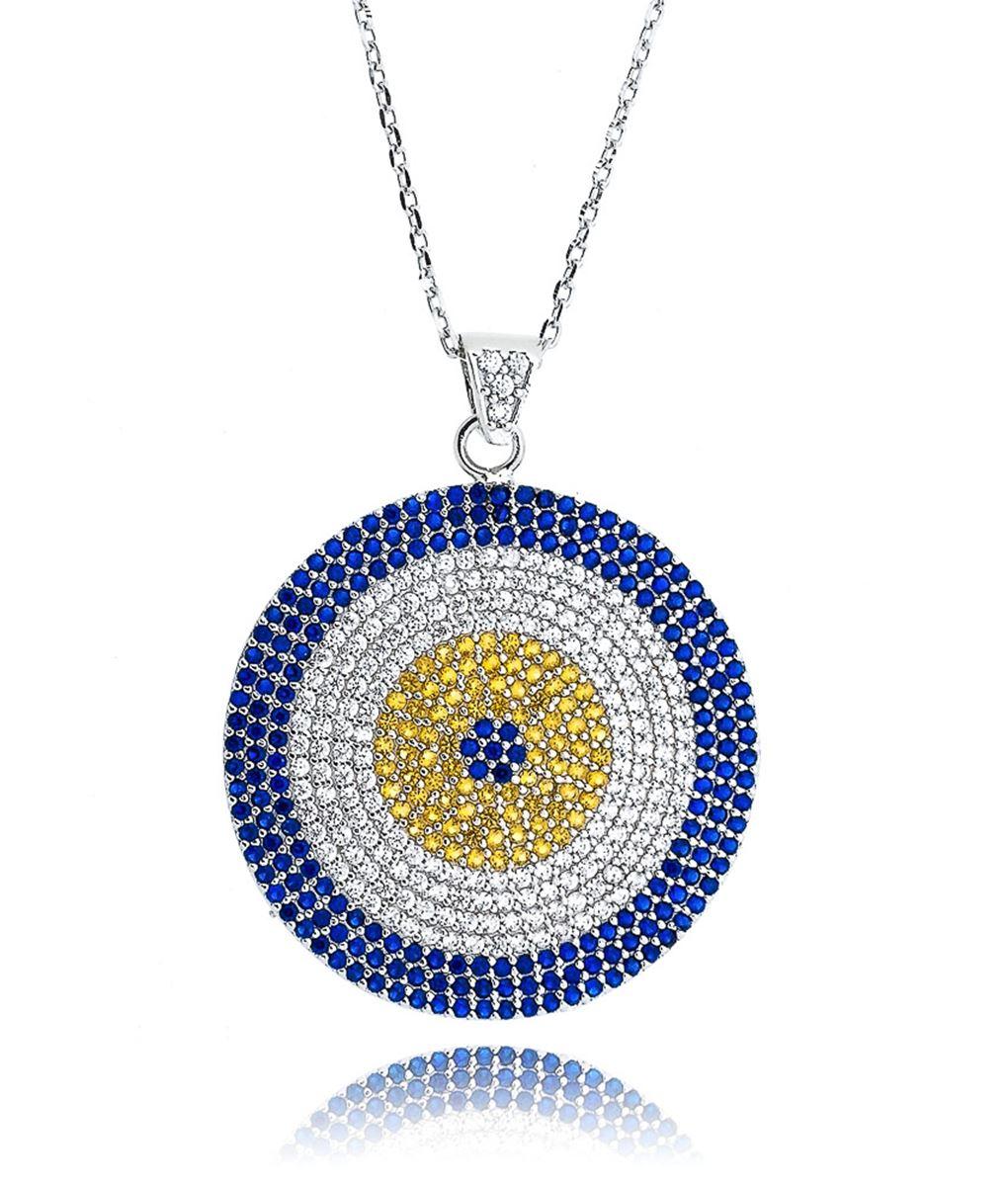 colar olho grego grande colorido prata turca