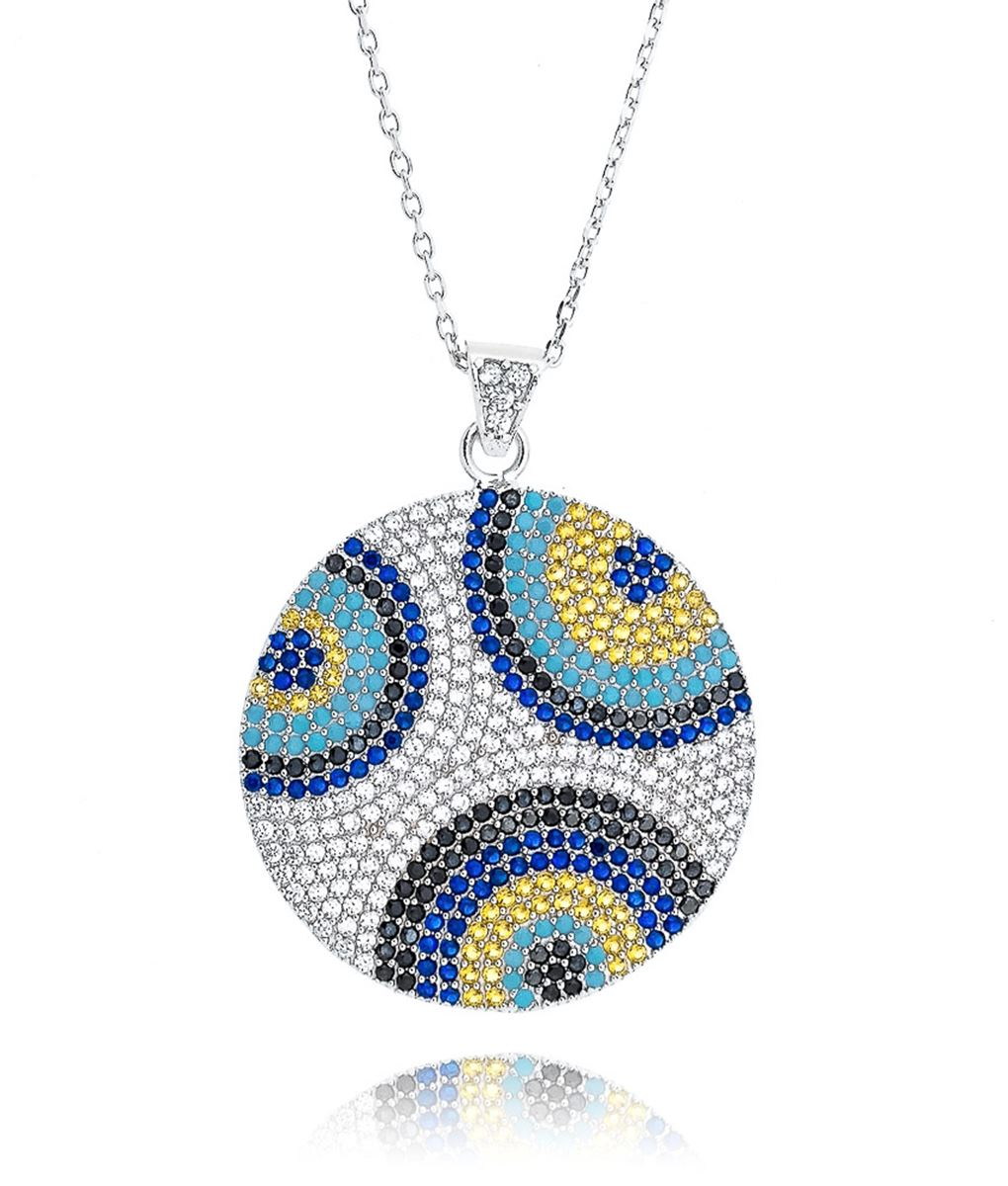 colar rodio olho grego cravejado zirconias coloridas