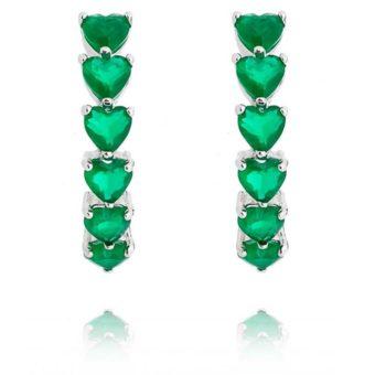 argola esmeralda com banho de rodio semi joias da moda