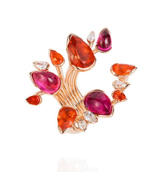 anel flores com pedras opalas joias