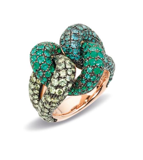 anel ouro com esmeraldas e safiras joias