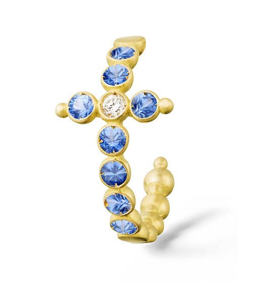 brinco de cruz safiras e diamantes ouro