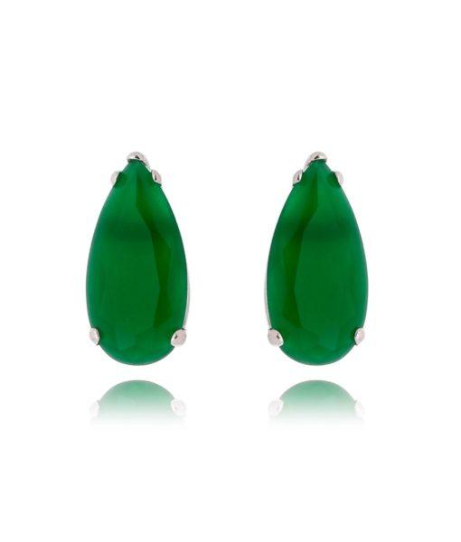brinco da moda com pedra em formato de gota esmeralda semi joias sofisticadas