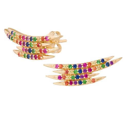 brincos coloridos dourados arco iris joia