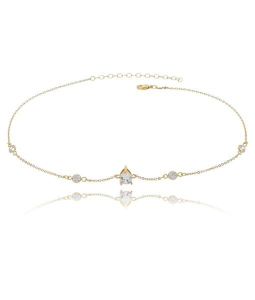 choker folheada a ouro com pedra cristal com ponto de luz cristal semi joias da moda
