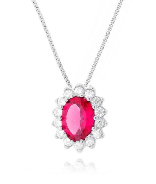 colar pingente rubi com zirconias semi joias prata