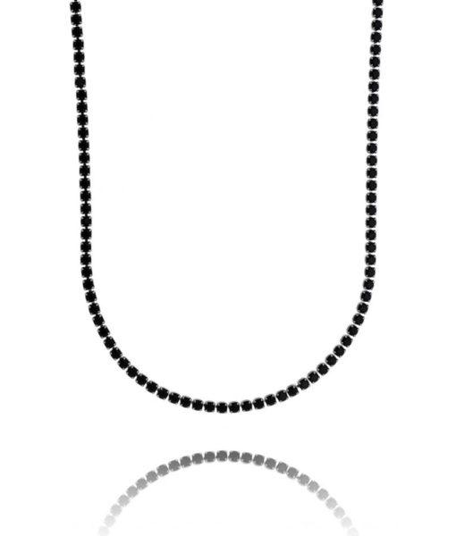 colar riviera longo zirconias negras rodio negro semijoia