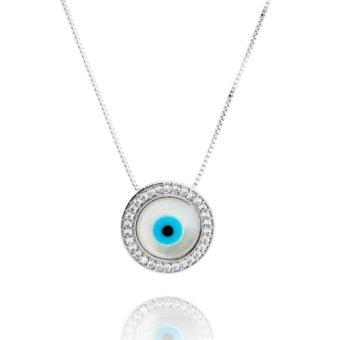 colar de olho grego prata semi joias da moda