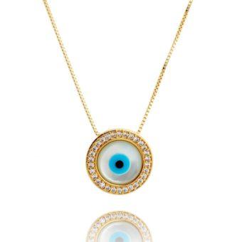 colar ouro com olho grego de madreperola