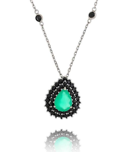 colares esmeralda com zirconias negras e corrente tiffany semijoia da moda