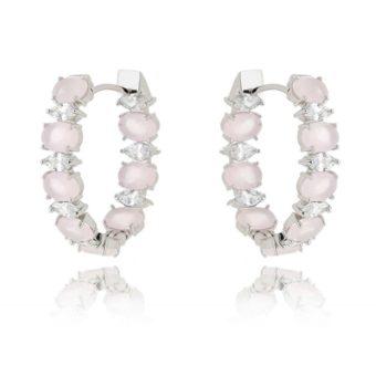 argola quartzo rosa com zirconias cristais e banho de rodio acessórios femininos coleção 2017