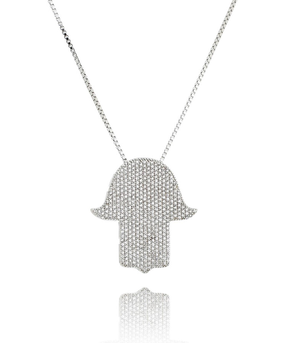 colar hamsa prata com zirconias cristais e banho de rodio semi joias online